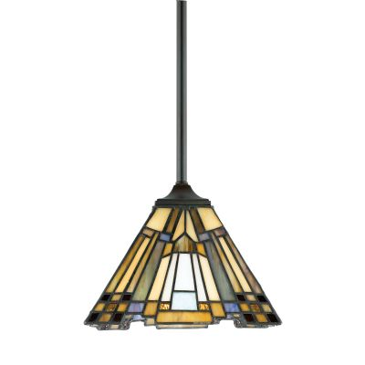 Inglenook Mini Pendant in Valiant Bronze and Tiffany Glass - QUOIZEL QZ/INGLENOOK/MP
